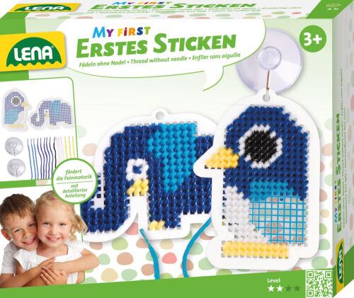 Lena 42623 Elefant My First Erstes Sticken Fädeln ohne Nadel Pinguin