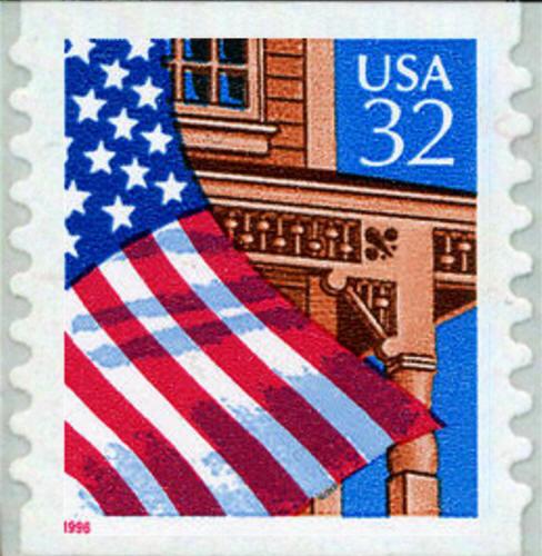1995 32c Flag over Porch, SA Coil Scott 2915a Mint F/VF