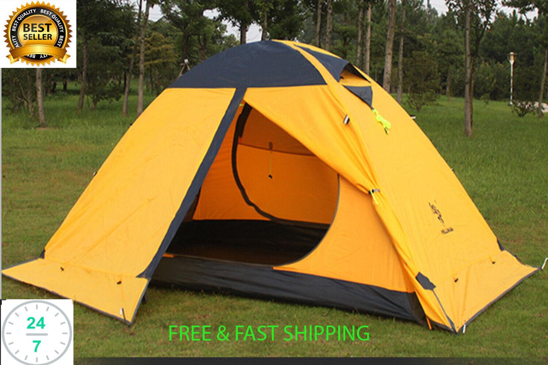 Camping Carpa 2 persona Impermeable cuatro temporada con doble capa de postes de aluminio NUEVO