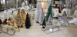 Tannenbaum-Stern-Schlitten-Gold-Silber-Schwarz-Gruen-Dekoration-Weihnachten-Winte