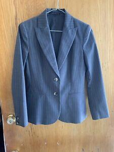 Theory-Grey-Pinstripe-Blazer-Suit-Jacket-Wool-Blend-Women-s-Size-2