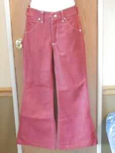 Vintage-Girls-Toughskins-sz-14-slim-red-rust-Bell-Bottoms-1970-039-s-Growing-Girl