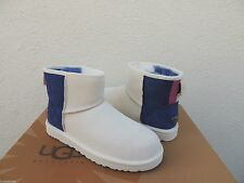 UGG CLASSIC MINI PRIX WHITE SUEDE/ SHEEPSKIN BOOTS, WOMENS US 7/ EUR 38 ~ NIB