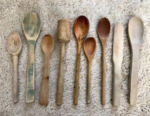 Lot Of 7 Antique Primitive Wooden Spoons, Masher
