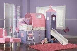 Powell Princess Castle Twin Tent Bunk Bed Slide Pink Purple Girls