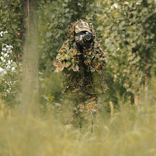 Woodland Camouflage Camo Ghillie Suit Set 3D Leaf Jungle Forest Sniper Hunting