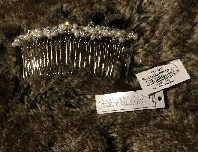 Elegant Silver Plated Hair Comb With Swarovski Crystals & Pearls. Bridal, HA-014