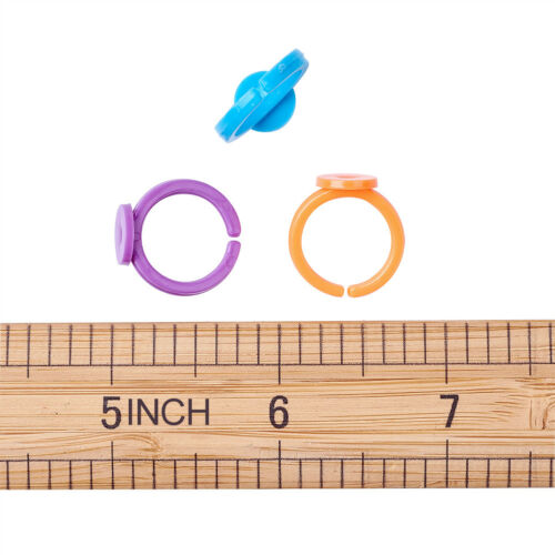 100PC Colorful Acrylic Base Blank Finger Rings Components Findings for Kids 14mm