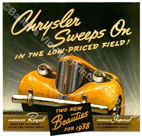 1938 CHRYSLER VINTAGE ADVERTISING ART PRINT FREE UK P/&P