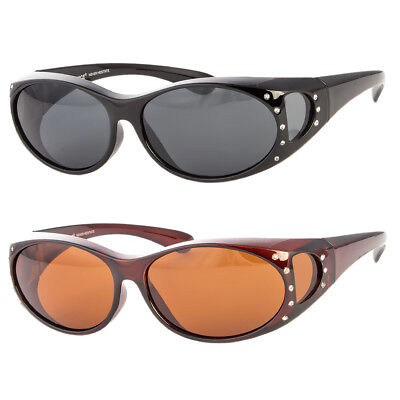 POLARIZED Rhinestone cover put over Womens Sunglasses wear Rx glass fit driving