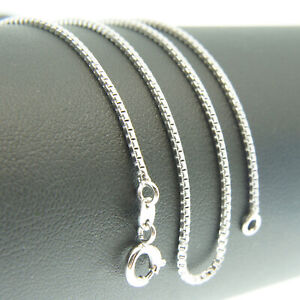 18k-White-Gold-F-46cm-18-039-039-necklace-1mm-solid-box-chain-for-pendant-AUS-MADE