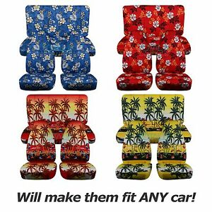 Hawaiian Car Seat Covers >> Details About Hawaiian Print Car Seat Covers Full Set Semi Custom Blue Red Yellow Palm Flwr