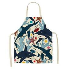 Cotton Linen Kitchen Bib Lotus Flower Washable Sleeveless Cooking Kitchen Aprons