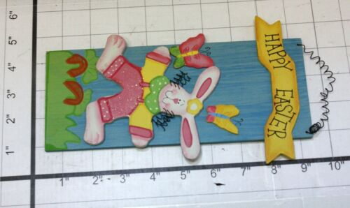 SPRING TIME HAPPY EASTER BUNNY HAND MADE WOOD WALL OR DOOR HANGER HOME DECOR!!!