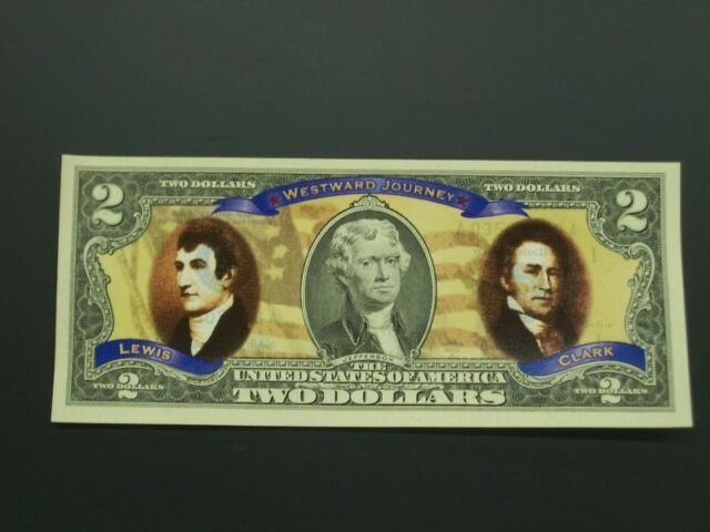 Two Colorized Two Dollar Bills With Lewis and Clark