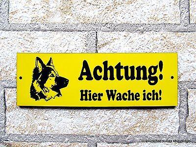 Türschilder Erfinderisch Achtung Hier Wache Ich,15 X 5 Cm,hundeschild,gravur-schild,warnung,schäferhund