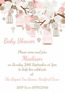 Image Is Loading PERSONALISED SHABBY CHIC BIRDCAGE BABY SHOWER INVITATIONS  PACKS