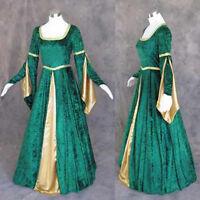 Medieval Renaissance Green Gold Gown Dress Costume LOTR Wedding 4X