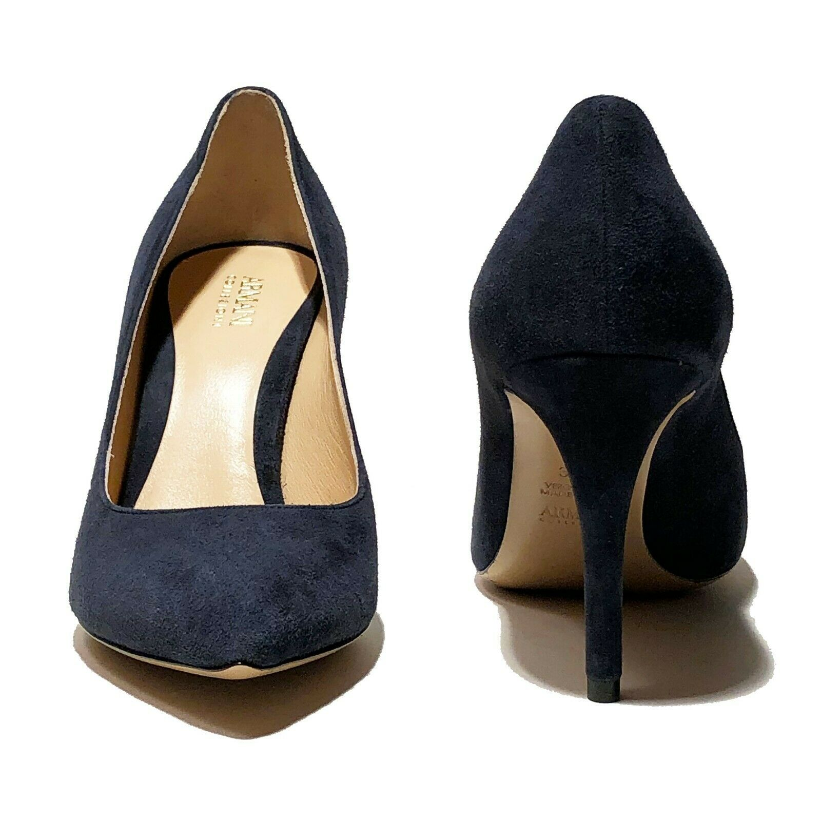 695 Armani Armani Armani Women's Navy Suede Leather Fashion Pointed Toe Stiletto Heels Pumps 4de98c