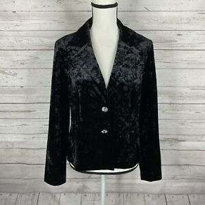 Joseph Ribkoff Womens Velvet Jacket Blazer Size 10 Black Long Sleeve