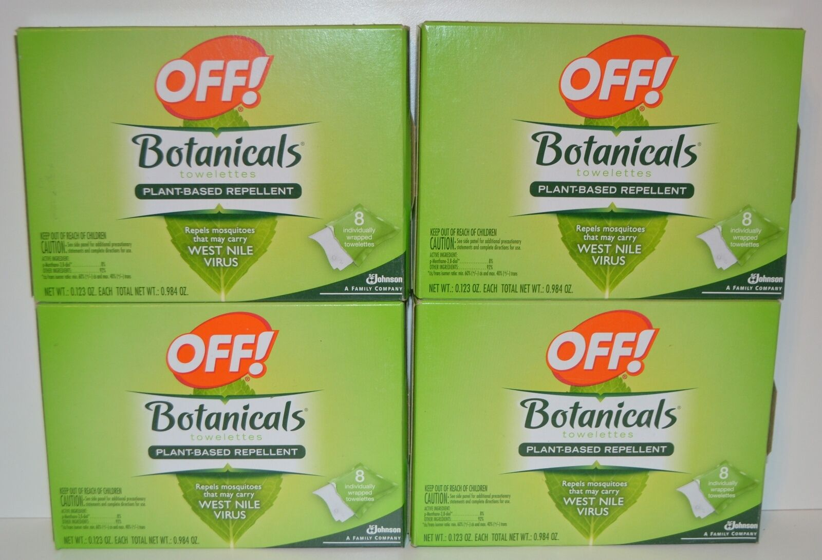 4 OFF  BOTANICALS INSECT REPELLENT TOWELETTES PLANT MOSQUITOES BUG 32 WIPES LOT