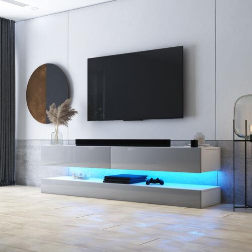 TV-Hängeboard HYLIA Holzoptik Matt Weiß Schwarz Grau Hochglanz mit LED 140 cm