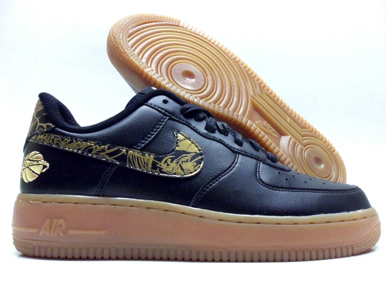 NIKE AIR FORCE 1 LOW ID BLACK METALLIC gold-GUM SIZE WOMEN'S 8 RARE [919730-992]