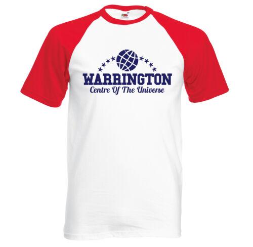 Warrington Centre Of The Universe retro short sleeve baseball t shirt