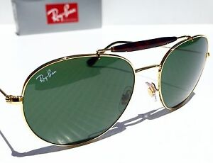 25ef83a29a7 NEW  Ray Ban Round AVIATOR Classic TORTOISE w GREEN Sunglass rb 3540 ...