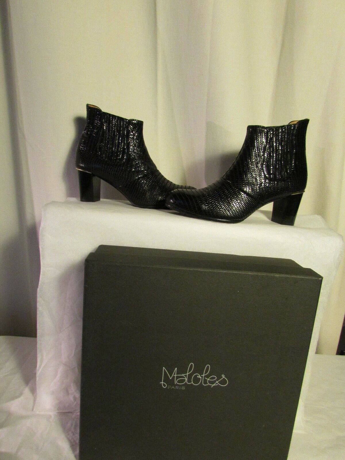 botas/botines MALOLES cuero estilo reptil negro 40