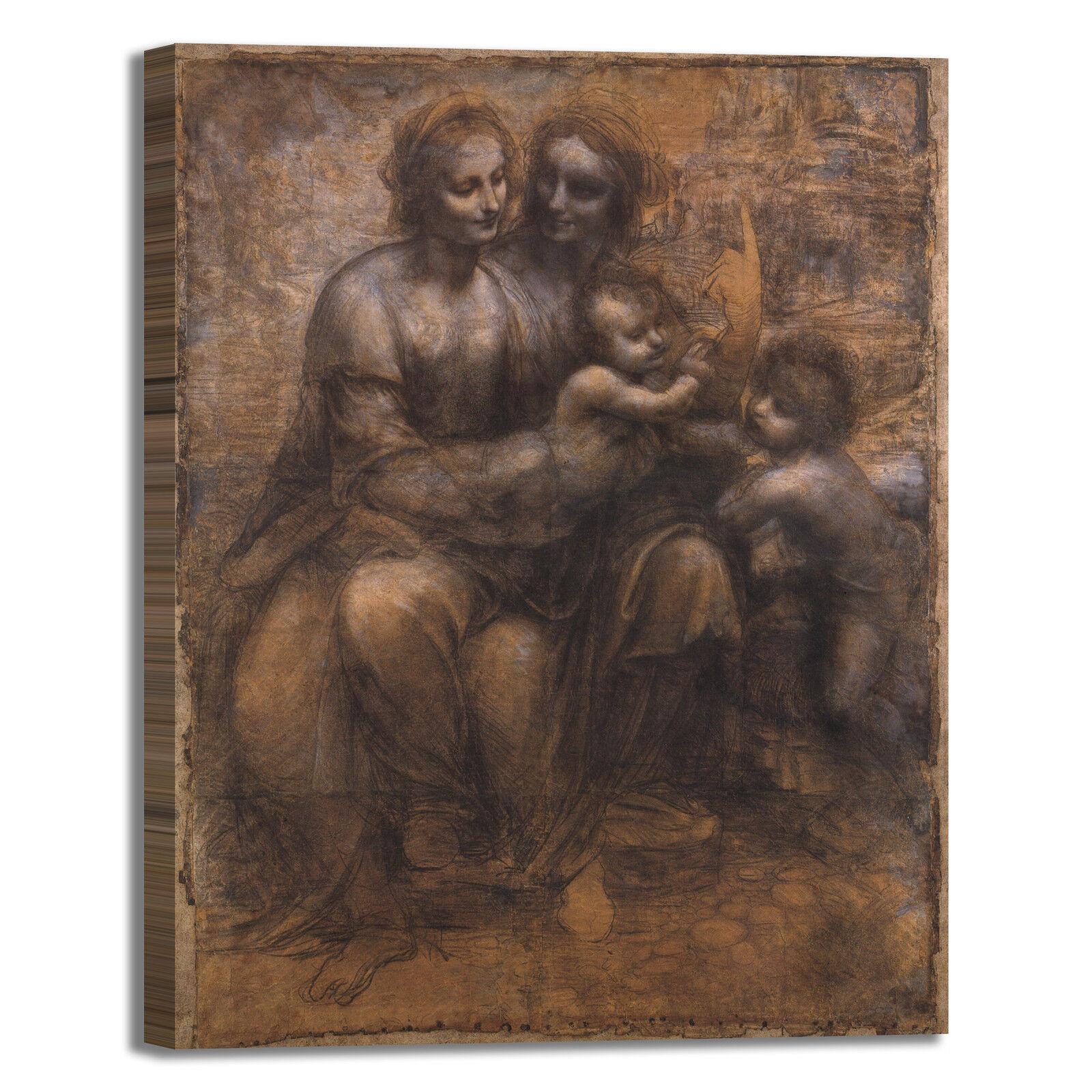 Da Vinci cartone di sant'Anna quadro stampa tela dipinto telaio arrossoo casa