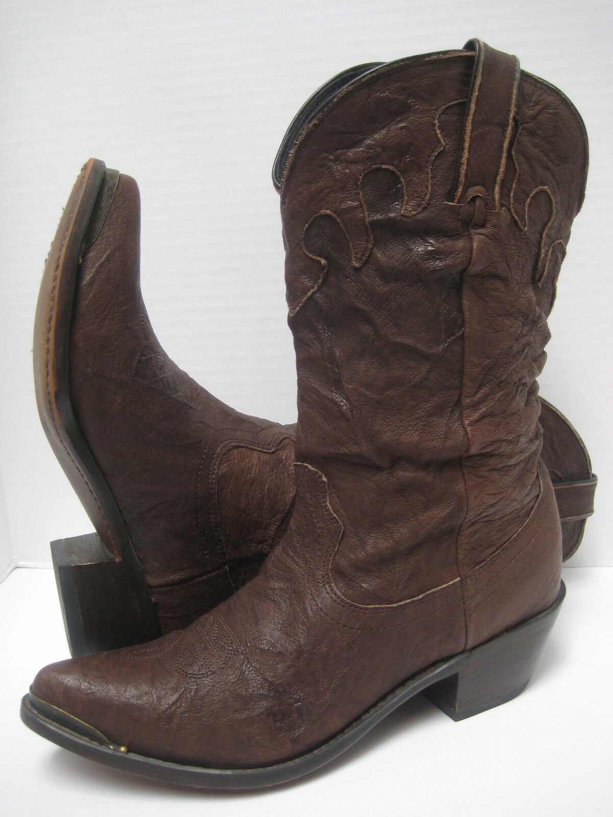 DURANGO Women BROWN SOFT CRINKLED LEATHER Slouchy Western BOOTS  Sweet Pair  6M