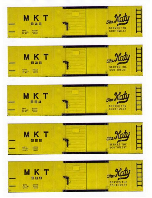 Five KATY boxcars American Flyer, HO scale printed sides
