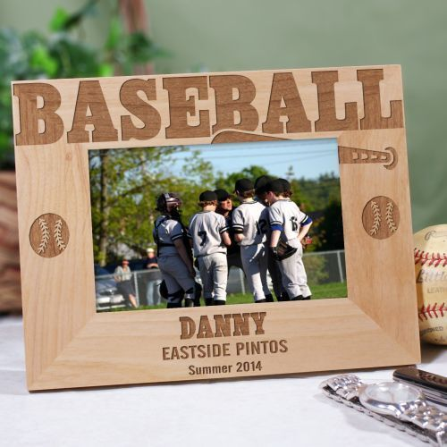 BASEBALL Personalized Wood Picture Frame Bat & Ball Design - Engraved Name Gift