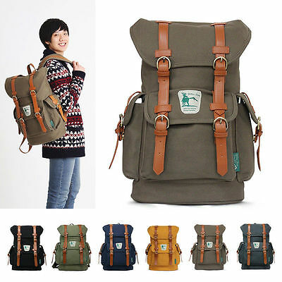 "New Men Women Canvas Schoolbag BACKPACK Laptop 15"" Rucksack Travel Bag [1001]"