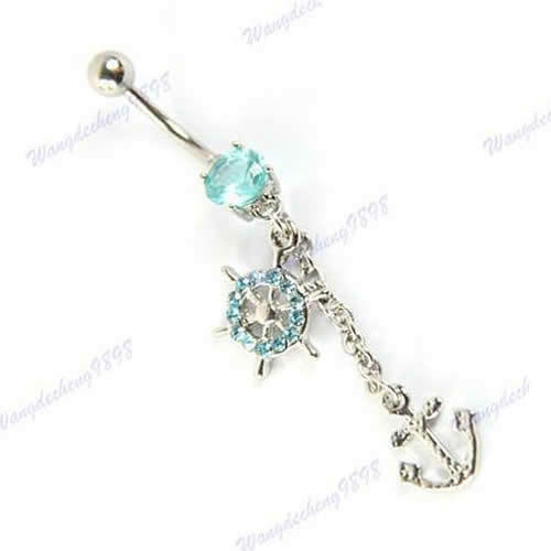 1PCS Dangle Crystal Navel Belly Button Barbell Rings Rhinestone Body Piercing