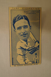 1950-Vintage-Cricket-Card-Carreras-Turf-Slides-Denis-Compton-Middlesex