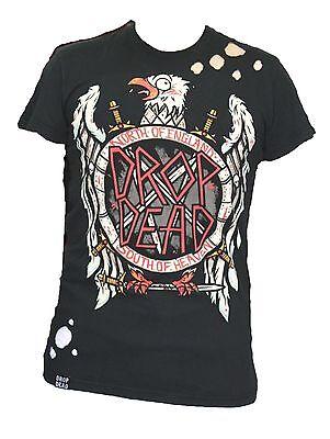 Drop Dead Slayer Eagle Guys Denim T-Shirt Black XS, S, M ... Drop Dead Clothing History