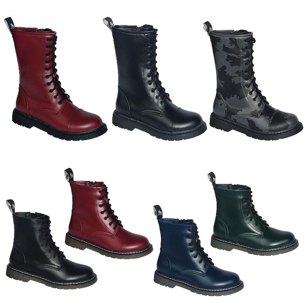 UK Ranger Gothic 7 und 10 Loch Boots Punk Style Stiefel vegan mit Side Zip RV
