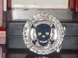 Pre-Owned-Rotating-Skull-Rhinestone-Belt-Buckle