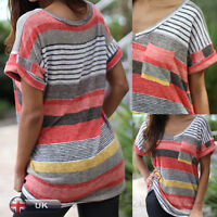CCC Womens Ladies Casual Short Sleeve V Neck T Shirt Loose Tops Blouse Size 8-14