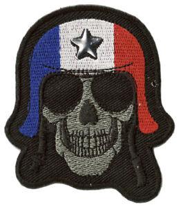 Patche-ecusson-biker-motard-France-Skull-thermocollant-hotfix-patch