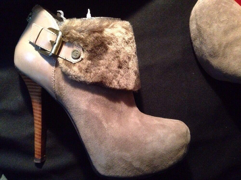 Guess Oleta Faux-fur Trimmed Taupe Suede Ankle Boot Stilettos 8 M Platform zip