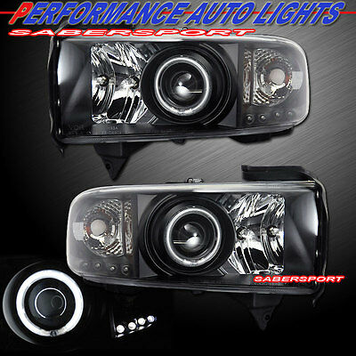 Set of Pair Black CCFL Halo Projector Headlights for 1994-2001 Dodge Ram Pickup