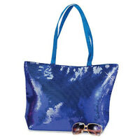 Free Shipping Royal Blue Large Sequin Purse Handbag Tote W/ Pocket Zipper