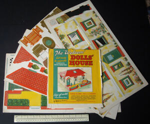 1940s-Vintage-Press-Out-Cardboard-Bungalow-Dolls-039-House-by-Welcom-London