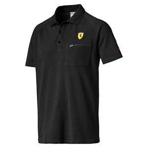 Image is loading PUMA-Ferrari-Polo-Shirt-Black