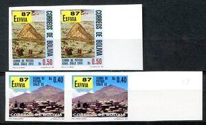 BOLIVIA Mi#1059B + 1062B IMPERFORATED PAIRS MNH VF