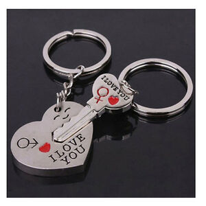 Lovers Chain Couples Keyring Metal Heart+Arrow I LOVE YOU