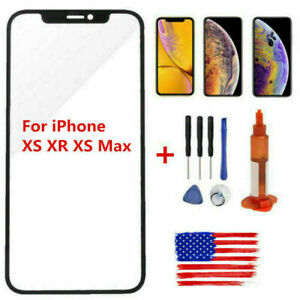 Black with Glue Card for Apple iPhone Xs Max Lens Glass Only